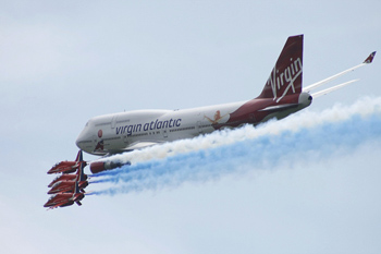 Virgin Atlantic Boeing 747-400 & Red Arrows flypast at Biggin Hill International Air Fair 2009