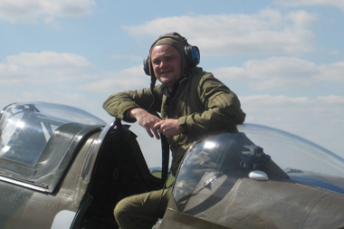 Comedian Al Murray in Supermarine Spitfire at Duxford