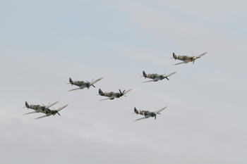 Supermarine Spitfire formation flight at the Duxford Air Show 2011