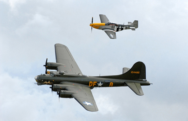 Boeing B-17G Flying Fortress Sally B Memphis Belle and P-51D-25 Mustang Ferocious Frankie at Duxford American Air Day 2009
