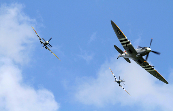 Supermarine Spitfire trio at The Duxford D-Day Anniversary Air Show