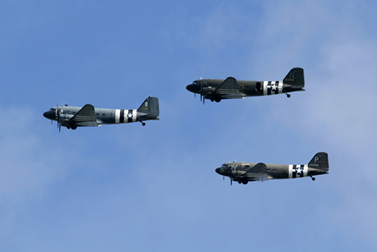 Douglas C-47A Skytrain trio at The Duxford D-Day Anniversary Air Show