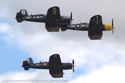 Chance Vought F4U Corsair three-ship formation flight at Duxford Flying Legends 2006