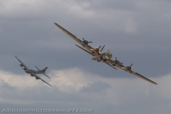Boeing B-17G-85-VE Flying Fortress 44-8846 F-AZDX The Pink Lady and B-17G-105-VE 44-85784 G-BEDF Sally B at Duxford Flying Legends 2006