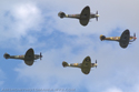Supermarine Spitfire four-ship formation flight at Duxford Flying Legends 2007