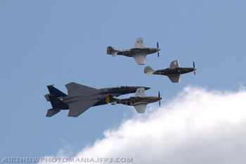 F-15E Strike Eagle, TF-51D and P-51D Mustangs and Bell P-39Q Airacobra at Duxford Flying Legends 2007