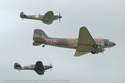 Douglas C-47 Skytrain (Dakota), Supermarine Spitfire and Hawker Hurricane at Duxford Flying Legends 2008