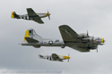 Boeing B-17G Flying Fortress 44-85734 Liberty Belle and North American Aviation P-51 Mustangs at Duxford Flying Legends 2008