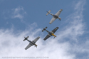 North American Aviation P-51 Mustang three-ship formation flight at Duxford Flying Legends 2009