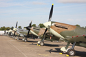Supermarine Spitfires in flightline walk at Duxford Flying Legends 2010