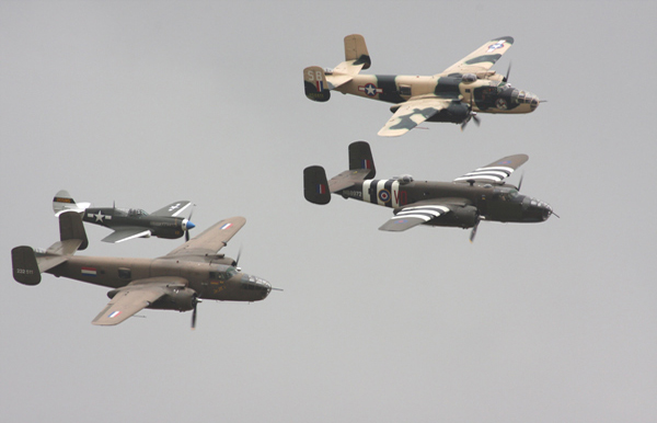 North American B-25 Mitchells and Curtiss P-40N-5CU Kittyhawk at Duxford Flying Legends Air Show 2009
