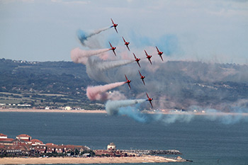 The Red Arrows Aerobatic Display Team at Eastbourne International Air Show 2013