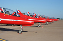 The Red Arrows Hawks line up at Fairford Air Show (Royal International Air Tattoo) 2006