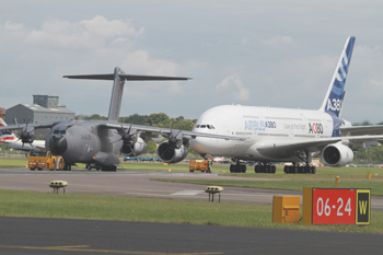 Airbus A400M Atlas and Airbus A380 at Farnborough International Air Show 2012