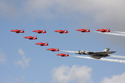 The Red Arrows Display Team flying with Avro Vulcan B2 G-VLCN/XH558 at Jersey International Air Display 2010