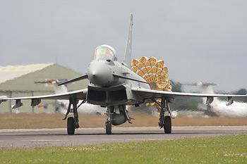 Eurofighter Typhoon deploying brake chute at Kemble Air Show 2009