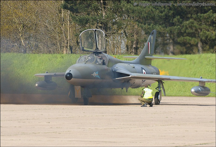Hawker Hunter starting up at Bruntingthorpe Airfield