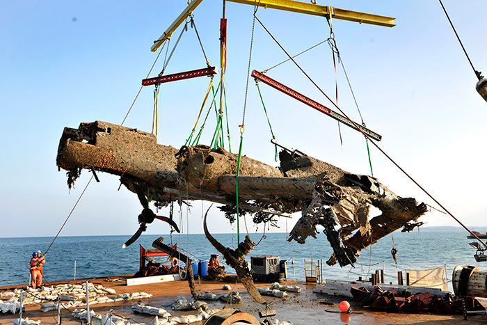 German World War II Dornier Do 17 bomber salvaged from Goodwin Sands