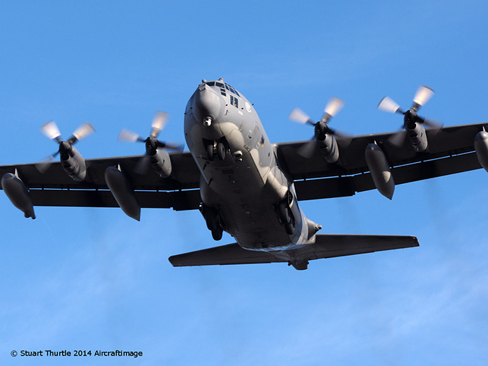 Lockheed Hercules MC-130P Shadow 67 66-0215 on her last tactical flight overhead RAF Sculthorpe