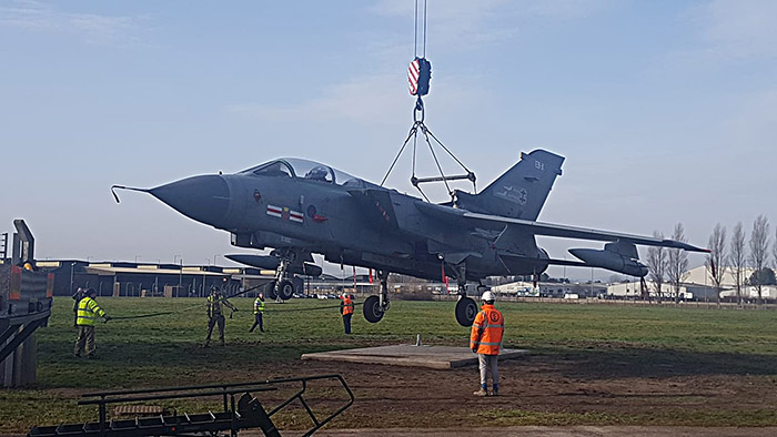 Tornado GR4 ZA607 (EB-X) lowered on its plinth at (DECA) Sealand
