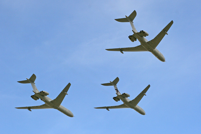 VC10 K3 ZA147, C1K XR808 and C1K XV108 three-ship flypast