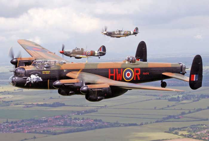 Lancaster PA474 with Hurricane PZ865 and Spitfire AB910