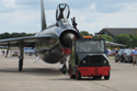 English Electric Lightning XS904/BQ being towed at the 50th anniversary of the Lightning into service and the unveiling of the Lightning Q shed