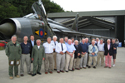 Ex-Lightning pilots standing in front of English Electric Lightning XS904/BQ at the 50th anniversary of the Lightning into service and the unveiling of the Lightning Q shed