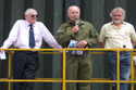 Group Captain John Spencer, Lightning Preservation Group president Richard Norris and David Walton at the 50th anniversary of the Lightning into service and the unveiling of the Lightning Q shed
