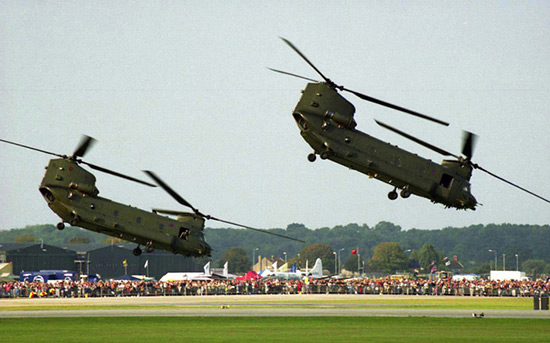 Boeing-Vertol Chinook pair displaying at RNAS Yeovilton International Air Day 2003