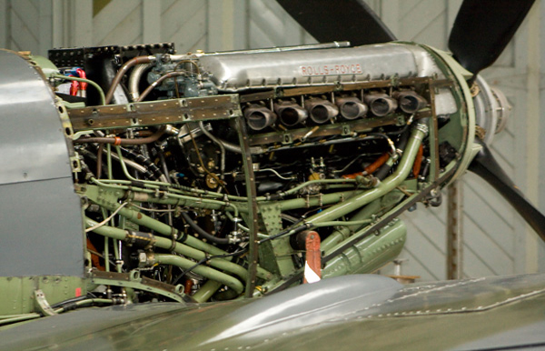 Supermarine Spitfire Mk IX G-ASJV MH434 engine at Duxford Hangar 2 - The Flying Museum