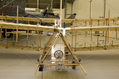 Avroeplane replica G-ROEI in the Duxford AirSpace hangar