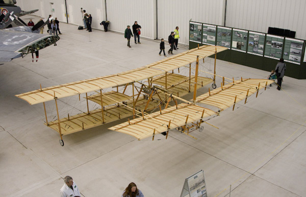 Avroplane replica G-ROEI in the Duxford AirSpace hangar
