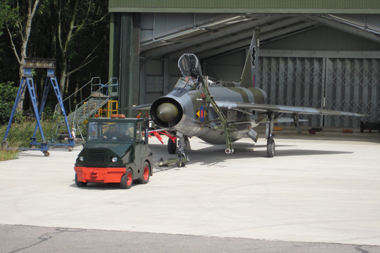 English Electric Lightning being towed out of QRA shed