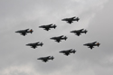 Harrier diamond nine at the No. 4 Squadron practice disbandment flypast at RAF Cottesmore