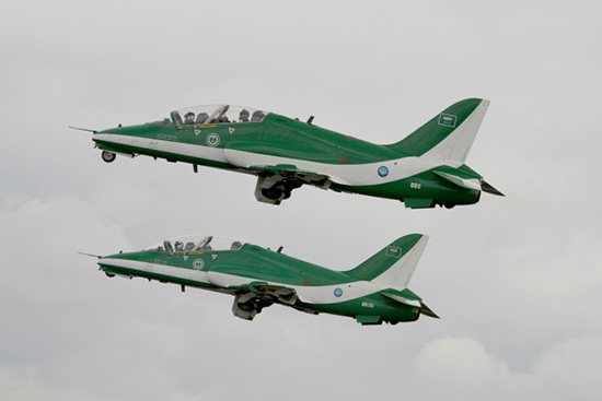 The Royal Saudi Air Force (Arabic - القوات الجوية الملكية السعودية‎, al-quwwāt al-ğawwiyyah al-malakiyyah as-suʿūdiyyah) - British Aerospace Hawks at Fairford Air Show (Royal International Air Tattoo) 2011