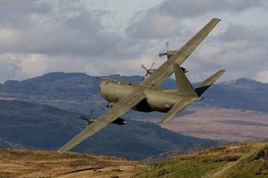 Lockheed C-130 Hercules at Mach Loop in North Wales