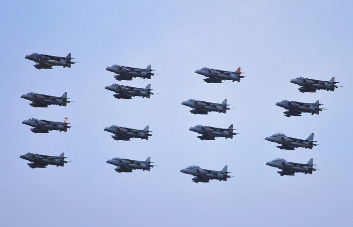 Harrier sixteen-ship formation