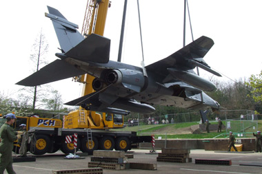 Jaguar XW563 being installed outside Norfolk County Hall