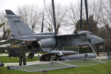 Jaguar XW563 being removed from RAF Coltishalls main gate