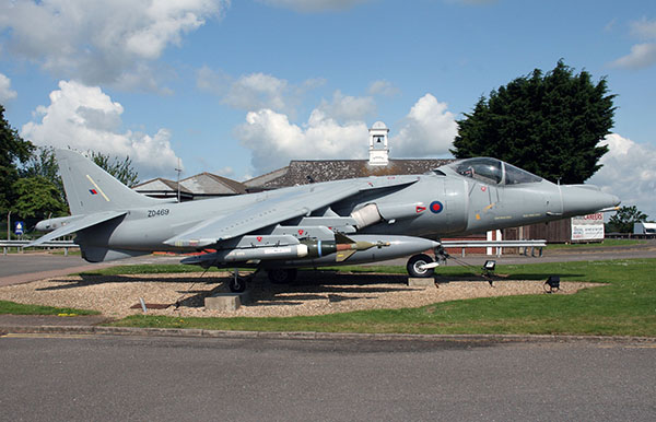 Gate guardian British Aerospace Harrier GR7A ZD469 at RAF Wittering