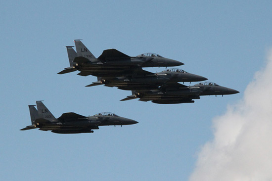 McDonnell Douglas (Boeing) F-15 Eagle four-ship formation at Duxford American Air Day 2009