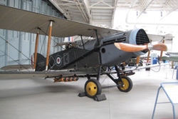 Bristol F.2B Fighter E.2581/13 in The Battle of Britain hangar at the Imperial War Museum, Duxford in Cambridgeshire