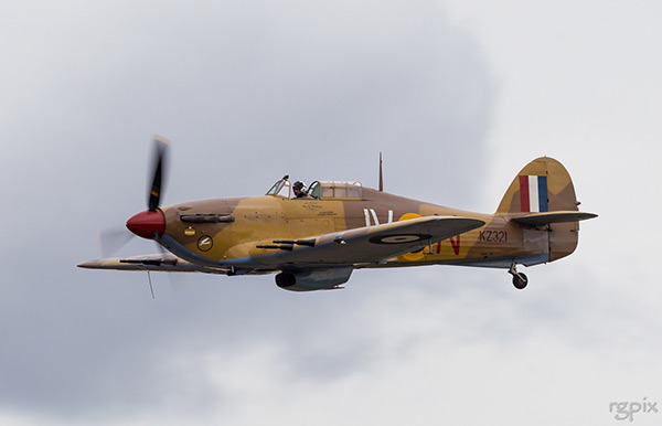 Hawker Hurricane Mk IV G-HURY KZ321 (JV-N) flying in Canada
